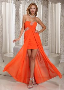 Wholesale Strapless High-low Orange Red Cocktail Party Dresses