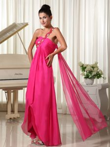 Appliqued one Shoulder Hot Pink Watteau Train Cocktail Dresses