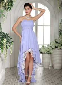 High-low Lilac Ruffled Sweetheart Cocktail Party Dresses on Sale