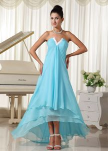 Strapless High-low Layered Light Blue Discount Cocktail Dresses