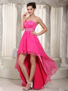Beaded Waist Sweetheart High-low Cocktail Dresses in Hot Pink