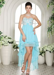 Light Blue Layered High-low Prom Cocktail Dress with Appliques