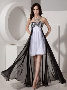 High-low Strapless White and Black Appliqued Cocktail Dresses