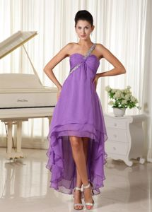 High-low Beaded one Shoulder Light Purple Prom Cocktails Dress