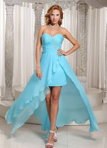 Girly High-low Beaded Aqua Blue Prom Cocktail Dress for Women