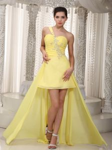 Plus Size One Shoulder Ruched Beaded Yellow Cocktail Dress