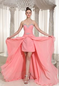 Beaded Watermelon Prom Cocktail Dresses with Flounced Hem