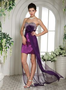 2013 Eggplant Purple Cocktail Party Dresses with Beaded Bust