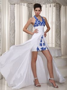 White Halter High-low Homecoming Cocktail Dress with Appliques