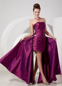 Clearance Ruched Purple High-low Summer Cocktail Party Dress