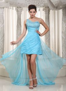 One Shoulder Aqua Blue Homecoming Cocktail Dress with Beads