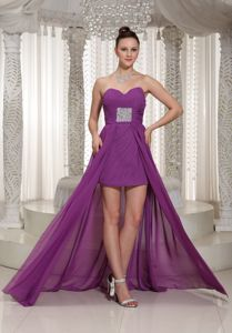 Popular Chiffon High-low Bright Purple Prom Cocktail Dresses