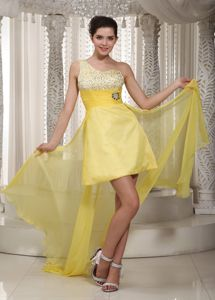 One Shoulder Beaded High-low Yellow Cocktail Dress for Women