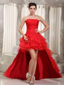 Ruffled Red Summer Prom Cocktail Dresses with Detachable Train