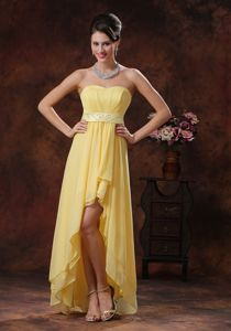 Discount Chiffon Yellow High-low Evening Cocktail Dress Online