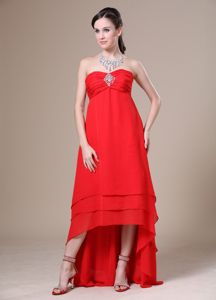 Simple Style Chiffon High-low Beaded Red Prom Cocktail Dress