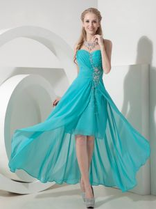 Lace-up Beaded Turquoise High-low Prom Cocktail Dress