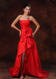 Strapless High-low Lace-up Red Prom Cocktail Dress Wholesale