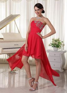 Most Popular Strapless Beaded Red Evening Cocktail Dresses