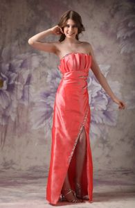 Clearance Strapless Beaded Orange Red Prom Cocktail Dresses