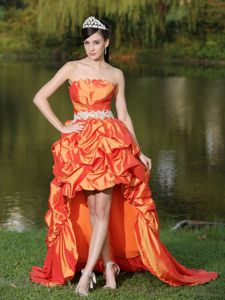Orange Red Cocktail Party Dress with Appliques and Pick-ups