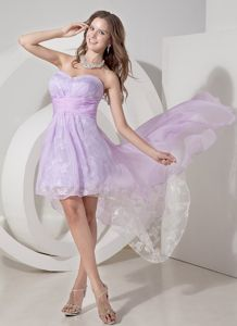 Lilac and White High-low Evening Cocktail Dress with Embroidery