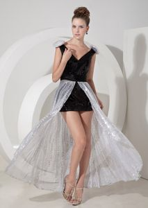 Sequins Black and Silver Cocktail Dresses with Detachable Train