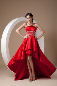 Hot Satin Strapless Red Cocktail Party Dress with Beaded Waist