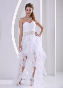 Lace-up White Ruffled Beaded Cocktail Dress for Prom under 150