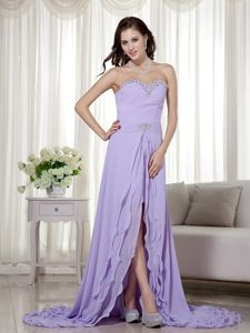 Chiffon Lilac Beaded Cocktail Party Dresses with Detachable Train