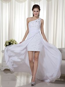 One Shoulder Appliqued White Cocktail Dresses with Cool Back