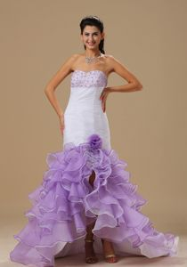 low Price White and Lavender Beaded Ruffled Cocktail Dresses