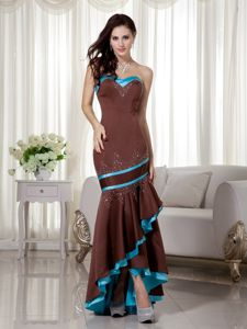 Mermaid High-low Brown and Blue Evening Cocktail Dress Online