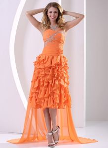 Chiffon Orange Ruffled Cocktail Party Dress with Detachable Train