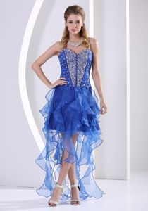 Royal Blue Prom Cocktail Dresses with Ruffles and Rhinestones
