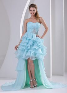 Dreamy Ruffled Beaded Light Blue Wedding Cocktail Party Dress