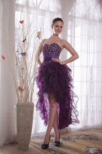 2013 New Purple Cocktail Party Dresses with Beading and Ruffles