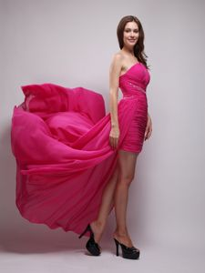 Chiffon Hot Pink One Shoulder Beaded Cocktail Dress for Party