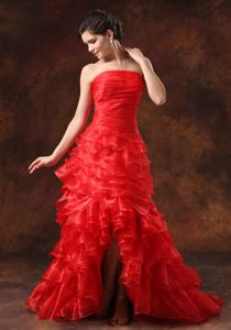 Plus Size Strapless Ruffled Red Prom Cocktail Dress Under 200
