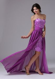 Clearance Rhinestones Purple Cocktail Dress with Detachable Train