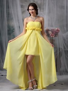 High-low Ruched Yellow Evening Cocktail Dresses with Flowers