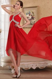 Empire One Shoulder Red Beaded Wedding Cocktail Party Dress