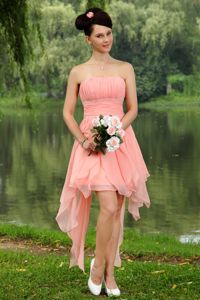Plus Size Peach Strapless Ruched Wedding Cocktail Party Dress