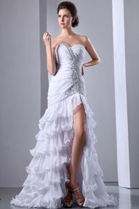 Chiffon White Evening Cocktail Dress with Ruffles and Beading