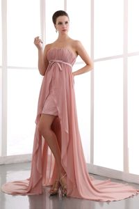 Cheap High-low Strapless Ruched Peach Evening Cocktail Dress