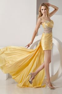 Detachable Beaded Yellow High-low Prom Cocktail Dresses