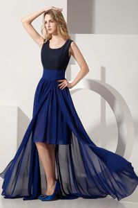 Navy Blue Scoop High-low Chiffon Prom Cocktail Dress Patterns