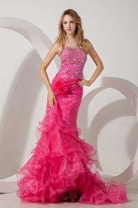 Hot Pink Mermaid Strapless Cocktail Dresses For Girls with Ruffles