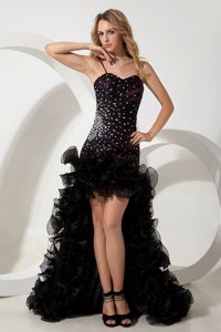 Straps High-low Black Beauty Cocktail Dresses Organza Beading