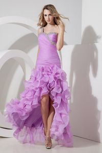 One Shoulder Cocktail Dress Lavender High-low Organza Beading